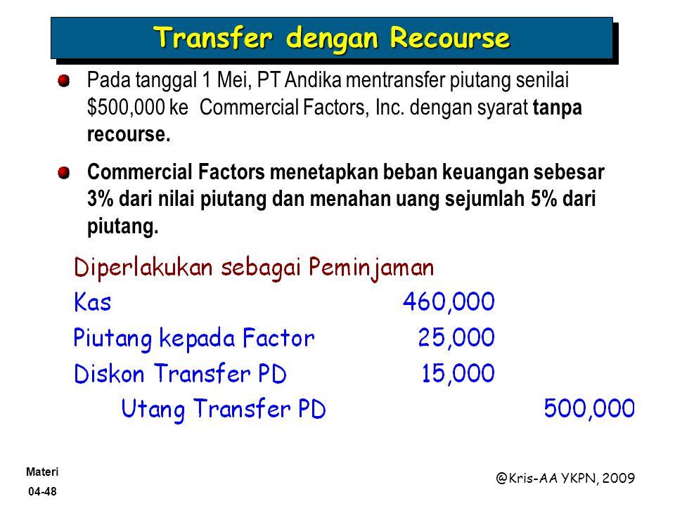 Materi 04-48 @Kris-AA YKPN, 2009 Transfer dengan Recourse Pada tanggal 1 Mei, PT Andika mentransfer piutang senilai $500,000 ke Commercial Factors, In