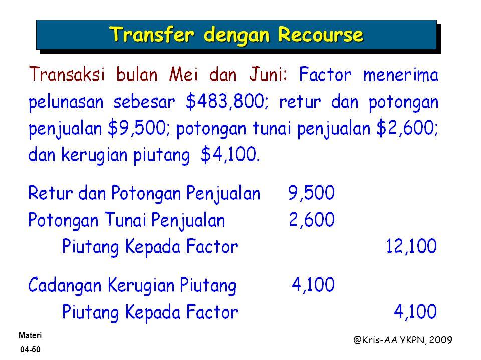Materi 04-50 @Kris-AA YKPN, 2009 Transfer dengan Recourse