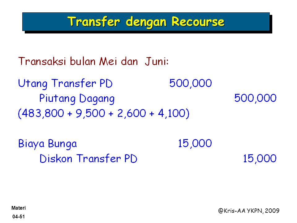 Materi 04-51 @Kris-AA YKPN, 2009 Transfer dengan Recourse