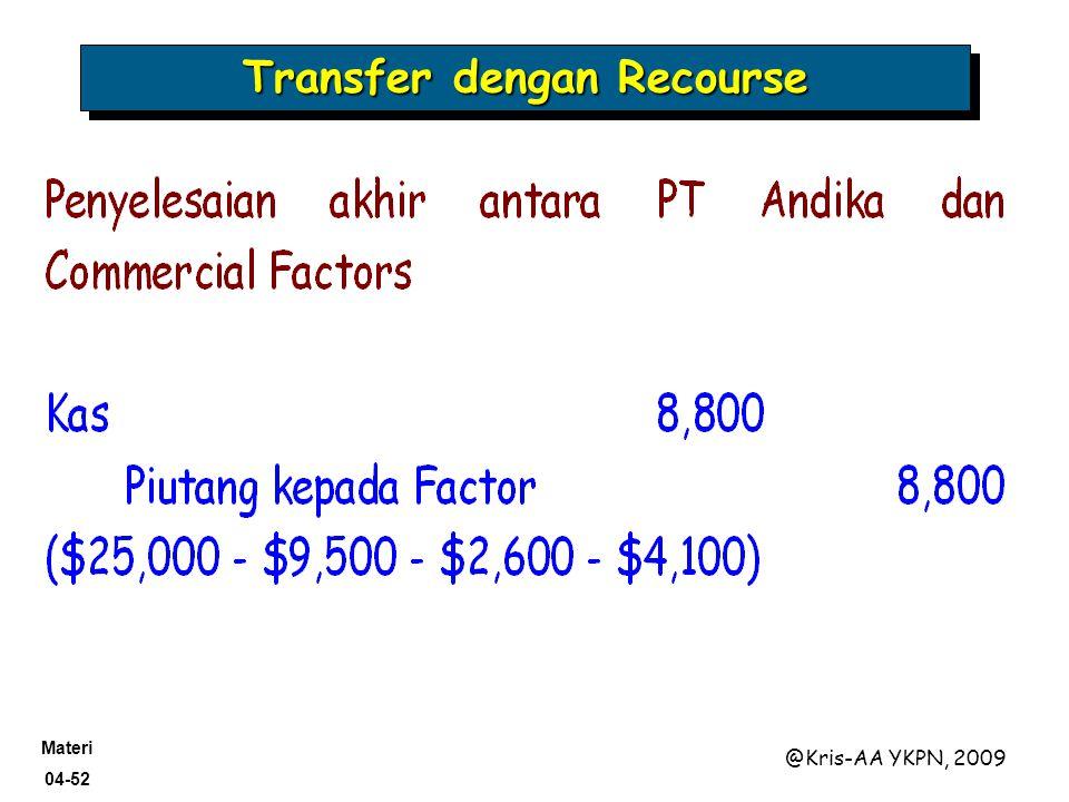 Materi 04-52 @Kris-AA YKPN, 2009 Transfer dengan Recourse