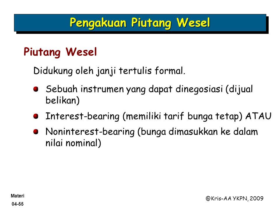 Materi 04-55 @Kris-AA YKPN, 2009 Didukung oleh janji tertulis formal. Pengakuan Piutang Wesel Piutang Wesel Sebuah instrumen yang dapat dinegosiasi (d