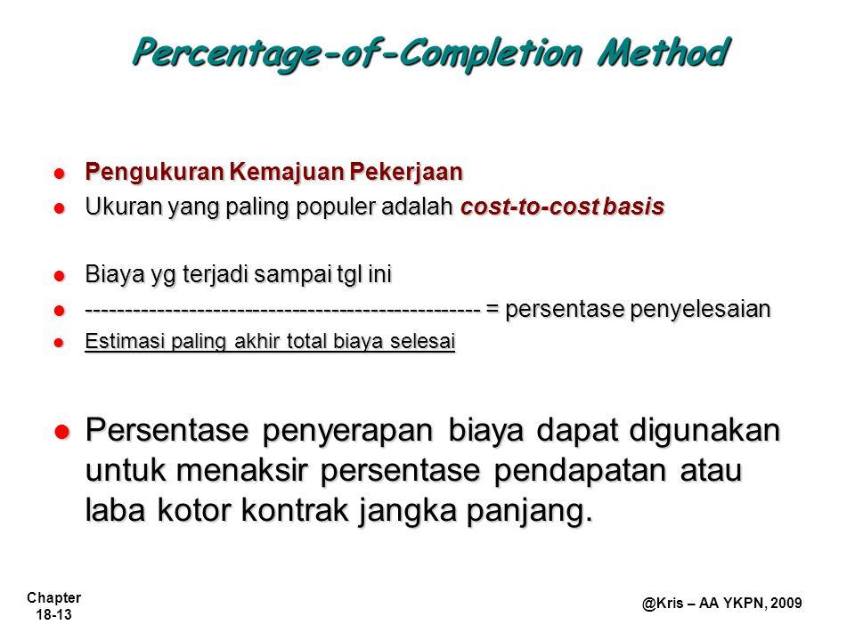 Chapter 18-13 @Kris – AA YKPN, 2009 Percentage-of-Completion Method Pengukuran Kemajuan Pekerjaan Pengukuran Kemajuan Pekerjaan Ukuran yang paling pop
