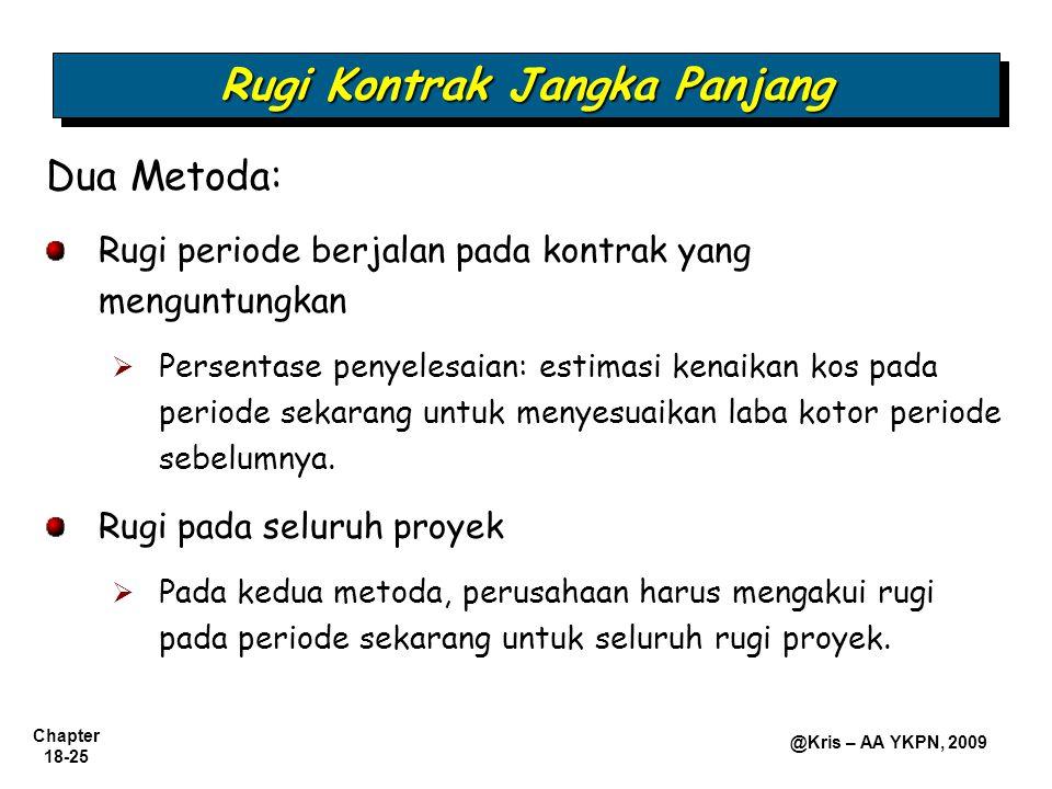 Chapter 18-25 @Kris – AA YKPN, 2009 Rugi Kontrak Jangka Panjang Dua Metoda: Rugi periode berjalan pada kontrak yang menguntungkan  Persentase penyele