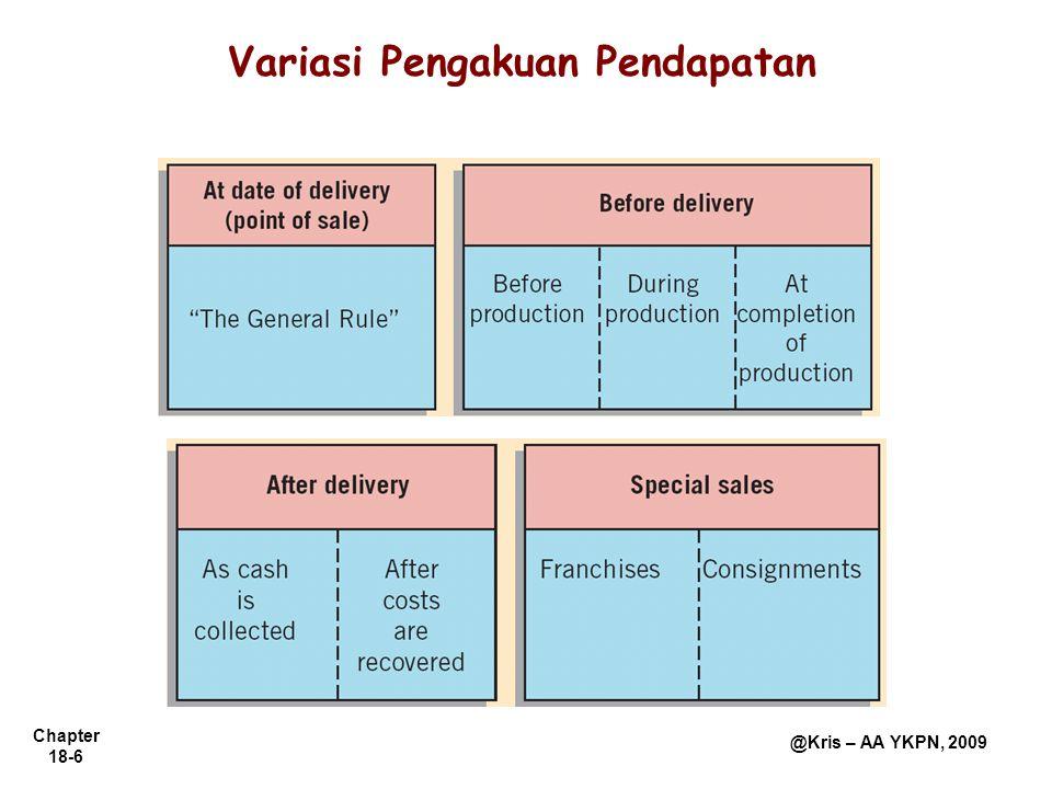 Chapter 18-7 @Kris – AA YKPN, 2009 Pendapatan diakui pada saat pembayaran diterima.