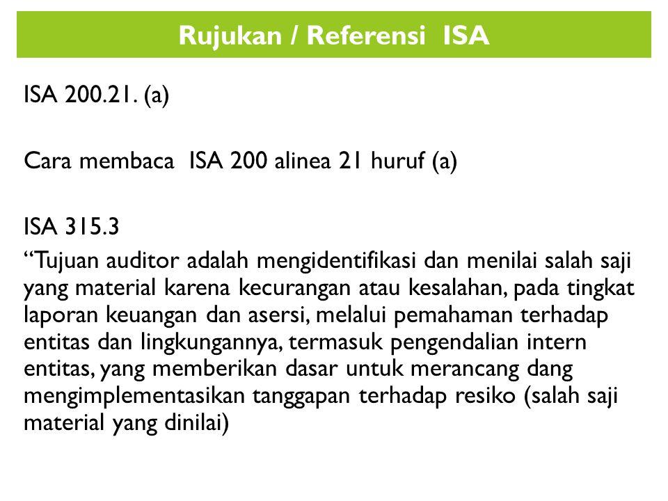 """Rujukan / Referensi ISA ISA 200.21. (a) Cara membaca ISA 200 alinea 21 huruf (a) ISA 315.3 """"Tujuan auditor adalah mengidentifikasi dan menilai salah s"""