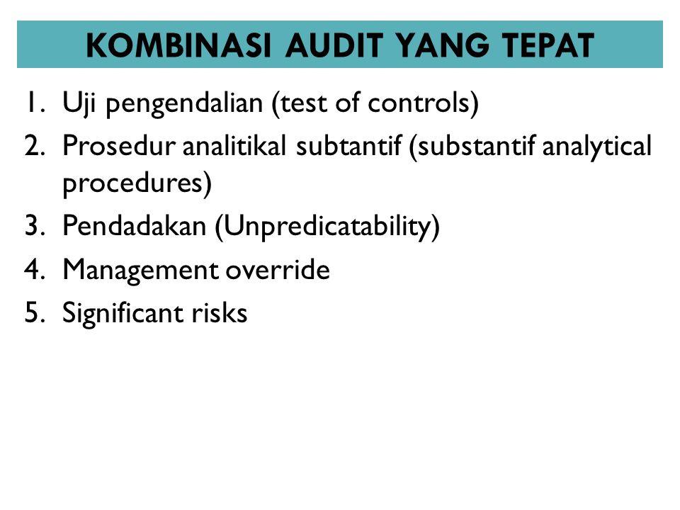 KOMBINASI AUDIT YANG TEPAT 1.Uji pengendalian (test of controls) 2.Prosedur analitikal subtantif (substantif analytical procedures) 3.Pendadakan (Unpr