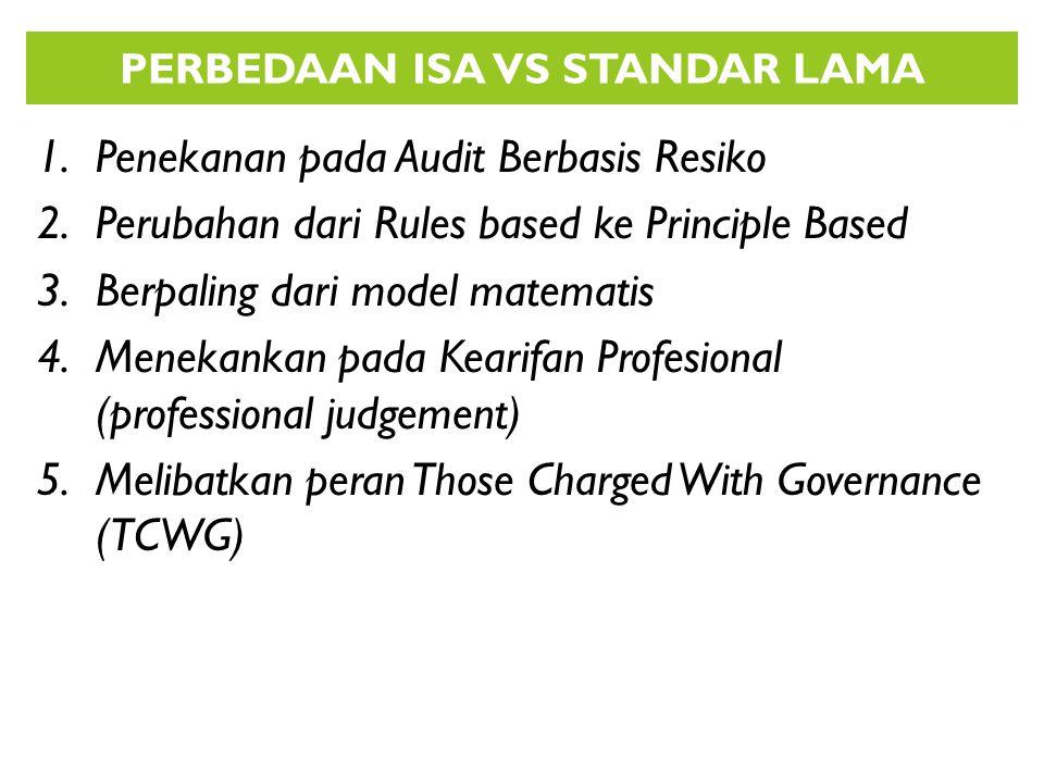1.Penekanan pada Audit Berbasis Resiko 2.Perubahan dari Rules based ke Principle Based 3.Berpaling dari model matematis 4.Menekankan pada Kearifan Pro