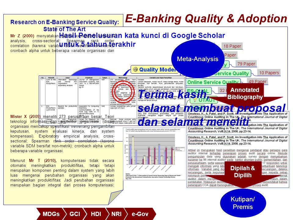 MDGsGCIHDINRIe-Gov Hasil Penelusuran kata kunci di Google Scholar untuk 5 tahun terakhir E-Banking Quality & Adoption Annotated Bibliography Meta-Anal