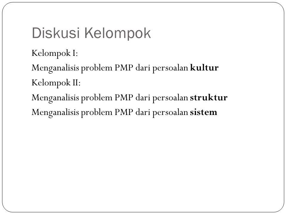 Diskusi Kelompok Kelompok I: Menganalisis problem PMP dari persoalan kultur Kelompok II: Menganalisis problem PMP dari persoalan struktur Menganalisis problem PMP dari persoalan sistem