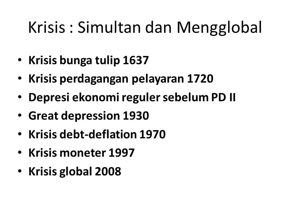 Krisis : Simultan dan Mengglobal Krisis bunga tulip 1637 Krisis perdagangan pelayaran 1720 Depresi ekonomi reguler sebelum PD II Great depression 1930 Krisis debt-deflation 1970 Krisis moneter 1997 Krisis global 2008
