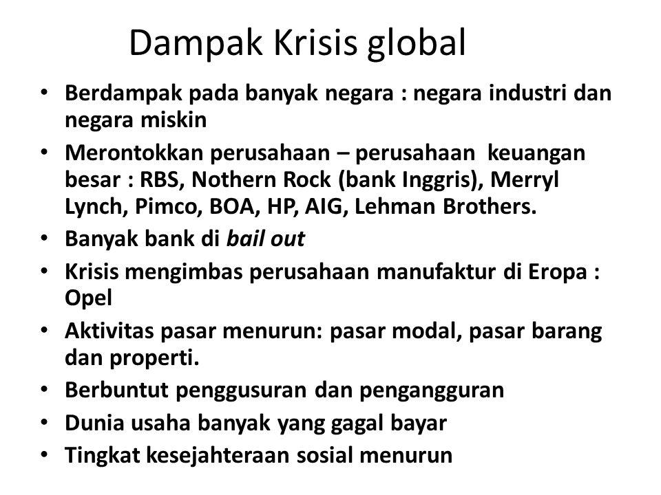 Dampak Krisis global Berdampak pada banyak negara : negara industri dan negara miskin Merontokkan perusahaan – perusahaan keuangan besar : RBS, Nothern Rock (bank Inggris), Merryl Lynch, Pimco, BOA, HP, AIG, Lehman Brothers.