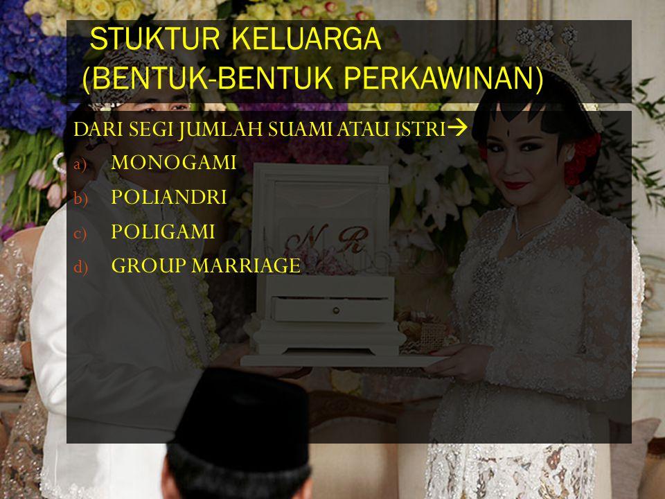 STUKTUR KELUARGA (BENTUK-BENTUK PERKAWINAN) DARI SEGI JUMLAH SUAMI ATAU ISTRI  a) MONOGAMI b) POLIANDRI c) POLIGAMI d) GROUP MARRIAGE