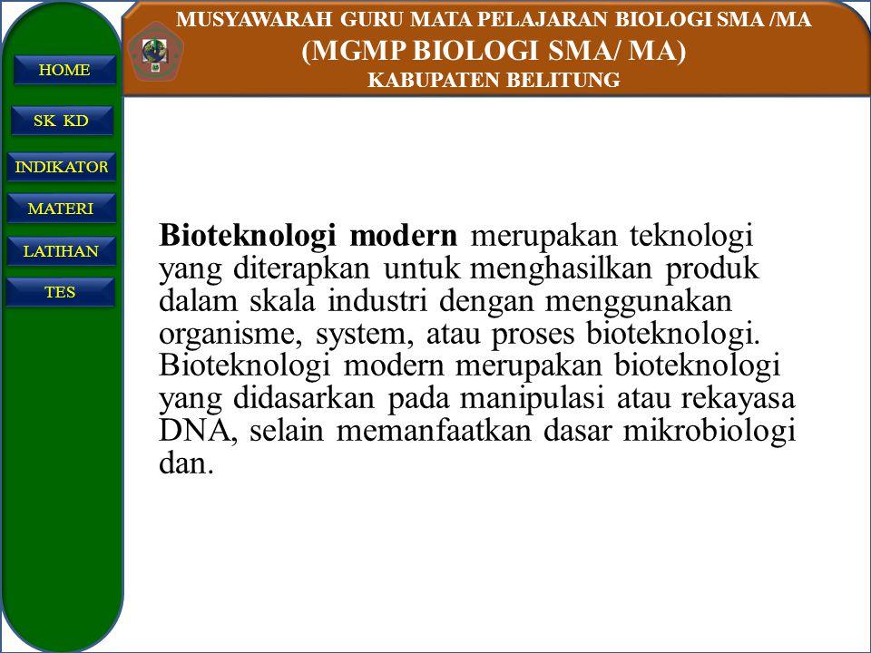 MUSYAWARAH GURU MATA PELAJARAN BIOLOGI SMA /MA (MGMP BIOLOGI SMA/ MA) KABUPATEN BELITUNG SK KD INDIKATO R INDIKATO R MATERI LATIHAN TES HOME Bioteknol