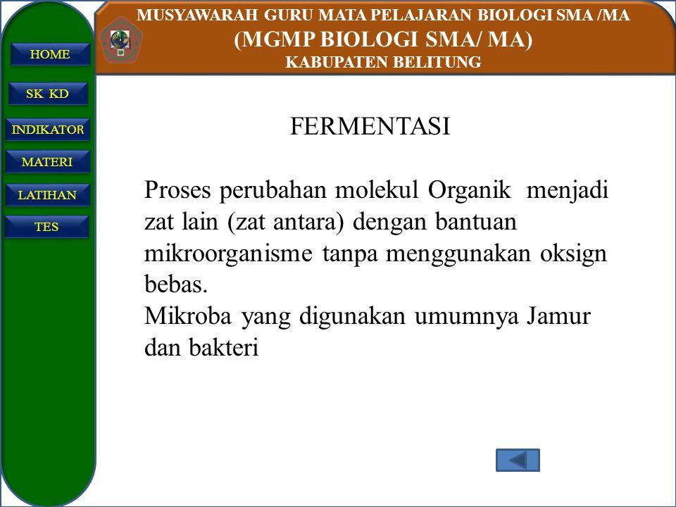 MUSYAWARAH GURU MATA PELAJARAN BIOLOGI SMA /MA (MGMP BIOLOGI SMA/ MA) KABUPATEN BELITUNG SK KD INDIKATO R INDIKATO R MATERI LATIHAN TES HOME FERMENTAS