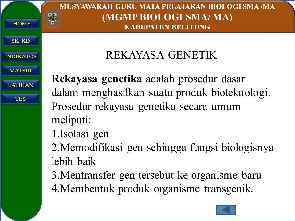 MUSYAWARAH GURU MATA PELAJARAN BIOLOGI SMA /MA (MGMP BIOLOGI SMA/ MA) KABUPATEN BELITUNG SK KD INDIKATO R INDIKATO R MATERI LATIHAN TES HOME REKAYASA