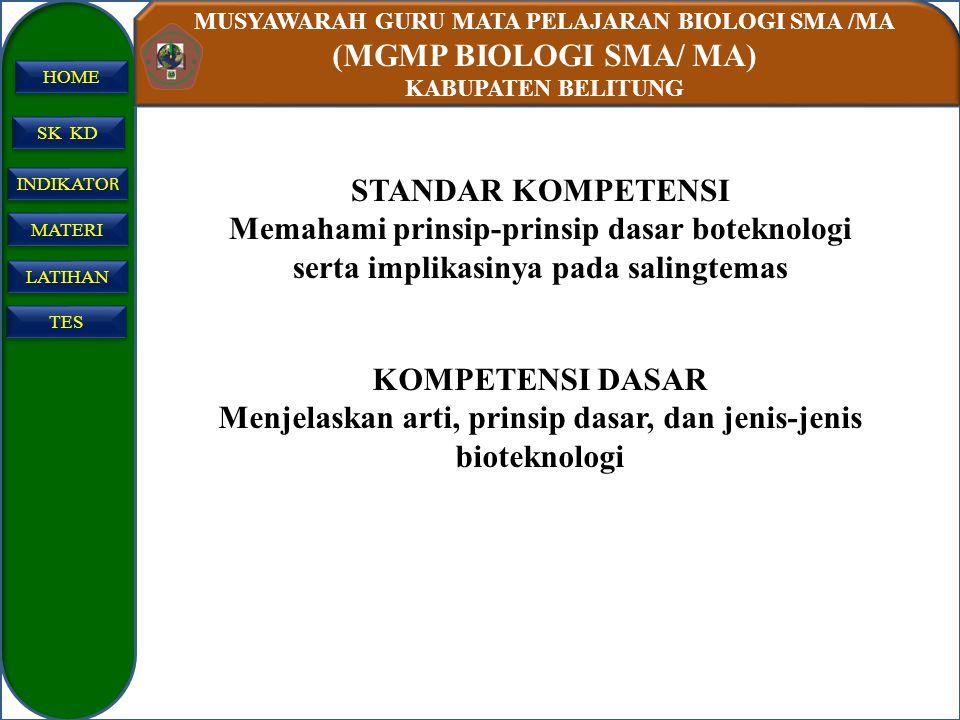MUSYAWARAH GURU MATA PELAJARAN BIOLOGI SMA /MA (MGMP BIOLOGI SMA/ MA) KABUPATEN BELITUNG SK KD INDIKATO R INDIKATO R MATERI LATIHAN TES HOME STANDAR K