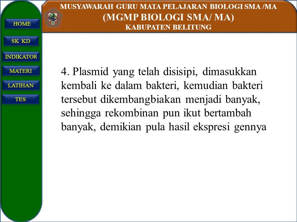 MUSYAWARAH GURU MATA PELAJARAN BIOLOGI SMA /MA (MGMP BIOLOGI SMA/ MA) KABUPATEN BELITUNG SK KD INDIKATO R INDIKATO R MATERI LATIHAN TES HOME 4. Plasmi