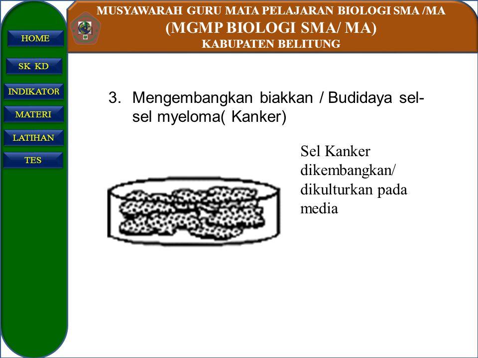 MUSYAWARAH GURU MATA PELAJARAN BIOLOGI SMA /MA (MGMP BIOLOGI SMA/ MA) KABUPATEN BELITUNG SK KD INDIKATO R INDIKATO R MATERI LATIHAN TES HOME 3.Mengemb