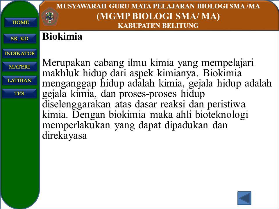 MUSYAWARAH GURU MATA PELAJARAN BIOLOGI SMA /MA (MGMP BIOLOGI SMA/ MA) KABUPATEN BELITUNG SK KD INDIKATO R INDIKATO R MATERI LATIHAN TES HOME Biokimia