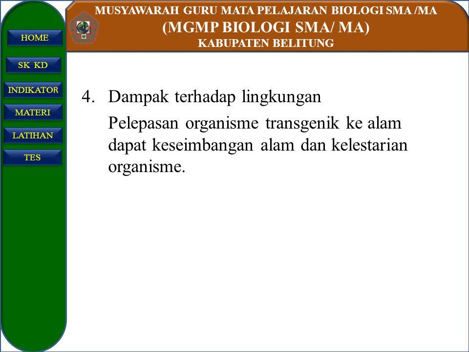 MUSYAWARAH GURU MATA PELAJARAN BIOLOGI SMA /MA (MGMP BIOLOGI SMA/ MA) KABUPATEN BELITUNG SK KD INDIKATO R INDIKATO R MATERI LATIHAN TES HOME 4.Dampak