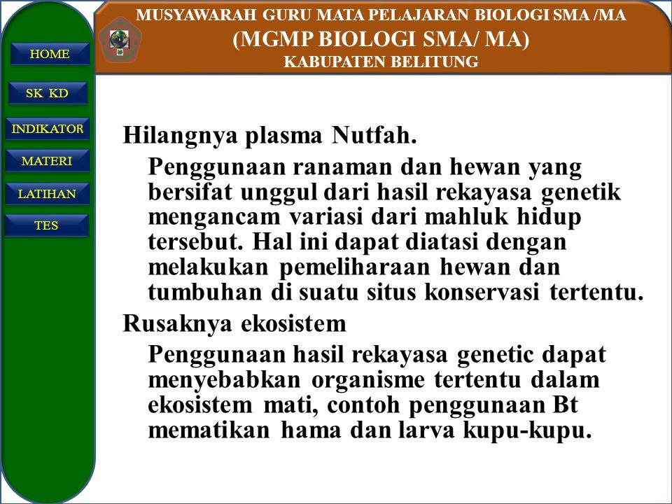 MUSYAWARAH GURU MATA PELAJARAN BIOLOGI SMA /MA (MGMP BIOLOGI SMA/ MA) KABUPATEN BELITUNG SK KD INDIKATO R INDIKATO R MATERI LATIHAN TES HOME Hilangnya