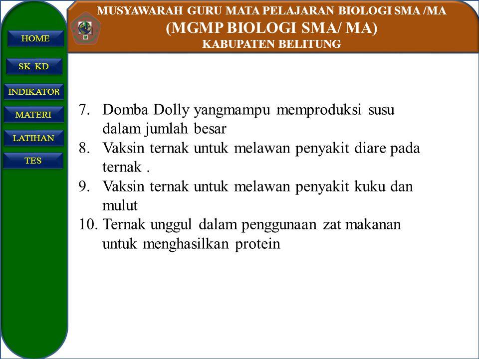 MUSYAWARAH GURU MATA PELAJARAN BIOLOGI SMA /MA (MGMP BIOLOGI SMA/ MA) KABUPATEN BELITUNG SK KD INDIKATO R INDIKATO R MATERI LATIHAN TES HOME 7.Domba D