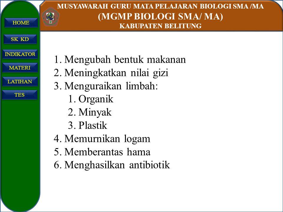 MUSYAWARAH GURU MATA PELAJARAN BIOLOGI SMA /MA (MGMP BIOLOGI SMA/ MA) KABUPATEN BELITUNG SK KD INDIKATO R INDIKATO R MATERI LATIHAN TES HOME 1.Menguba