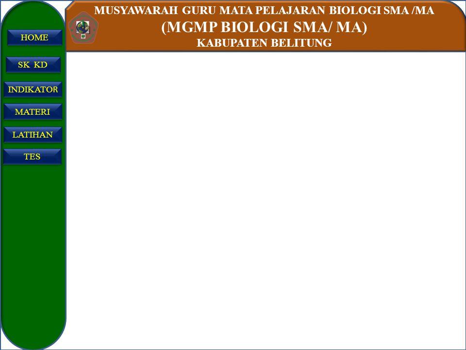 MUSYAWARAH GURU MATA PELAJARAN BIOLOGI SMA /MA (MGMP BIOLOGI SMA/ MA) KABUPATEN BELITUNG SK KD INDIKATO R INDIKATO R MATERI LATIHAN TES HOME