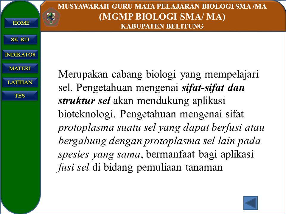 MUSYAWARAH GURU MATA PELAJARAN BIOLOGI SMA /MA (MGMP BIOLOGI SMA/ MA) KABUPATEN BELITUNG SK KD INDIKATO R INDIKATO R MATERI LATIHAN TES HOME Biologi s