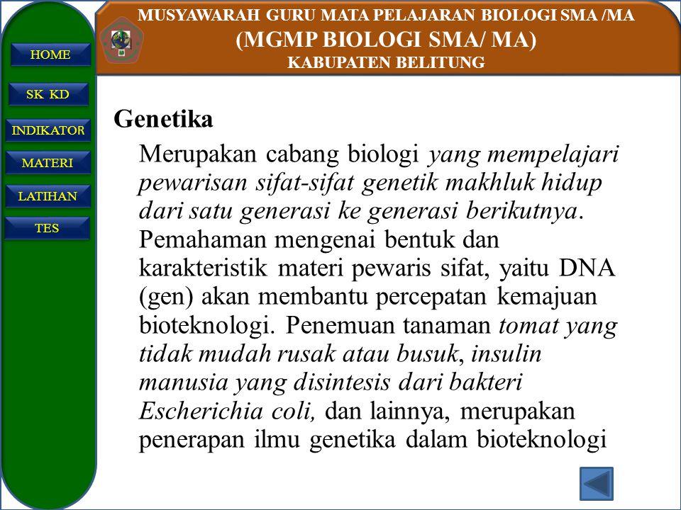 MUSYAWARAH GURU MATA PELAJARAN BIOLOGI SMA /MA (MGMP BIOLOGI SMA/ MA) KABUPATEN BELITUNG SK KD INDIKATO R INDIKATO R MATERI LATIHAN TES HOME Genetika