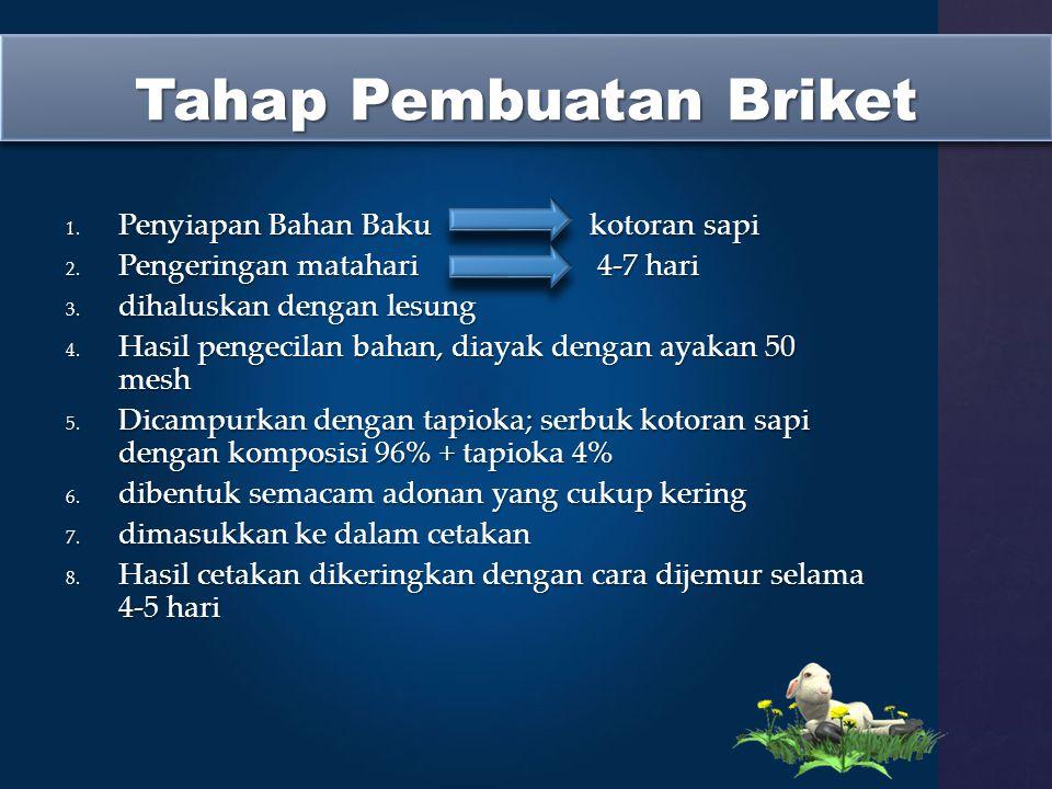 Tahap Pembuatan Briket 1.Penyiapan Bahan Bakukotoran sapi 2.