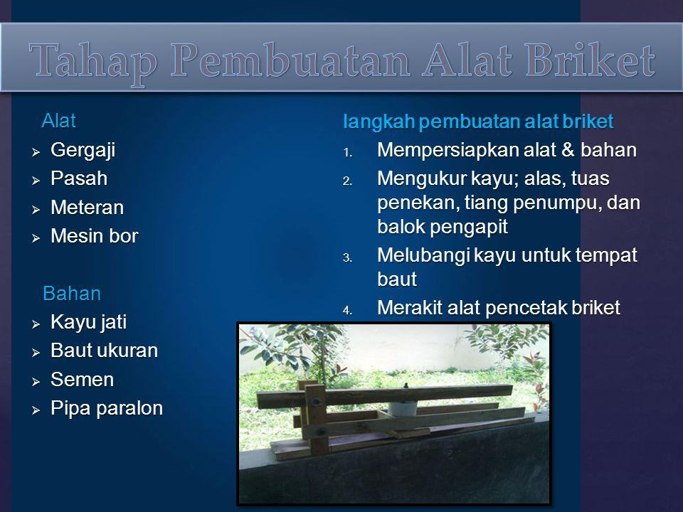 Alat Alat  Gergaji  Pasah  Meteran  Mesin bor Bahan Bahan  Kayu jati  Baut ukuran  Semen  Pipa paralon langkah pembuatan alat briket 1.