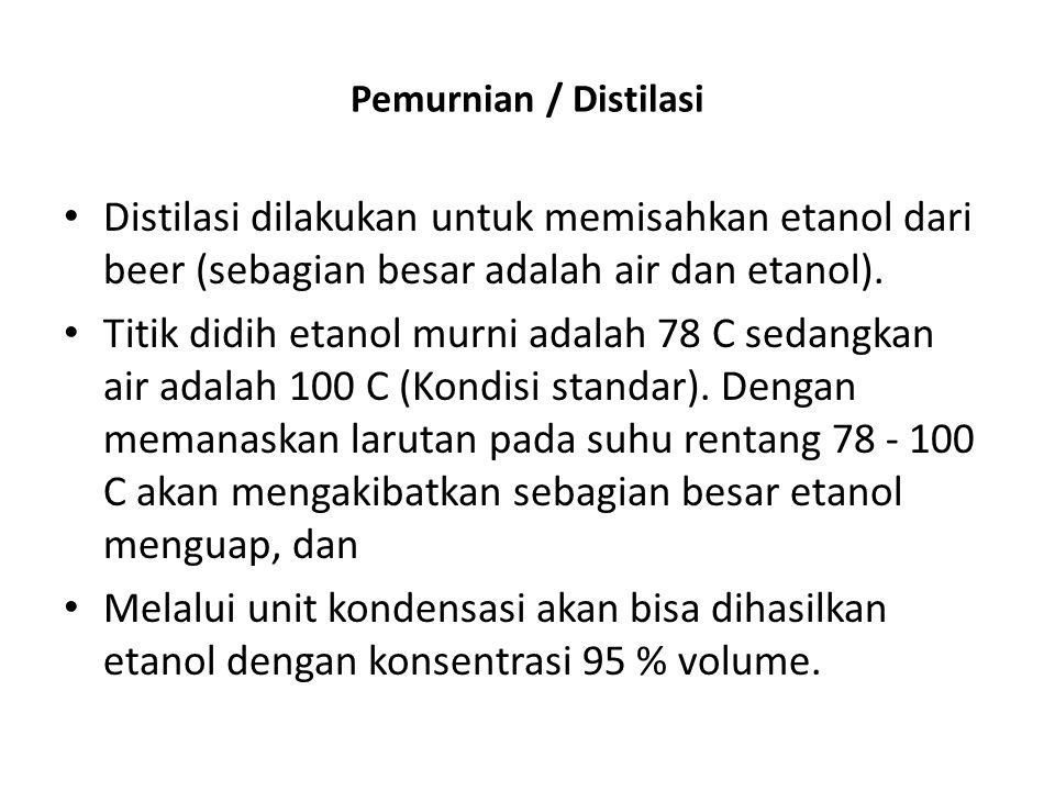Pemurnian / Distilasi Distilasi dilakukan untuk memisahkan etanol dari beer (sebagian besar adalah air dan etanol). Titik didih etanol murni adalah 78