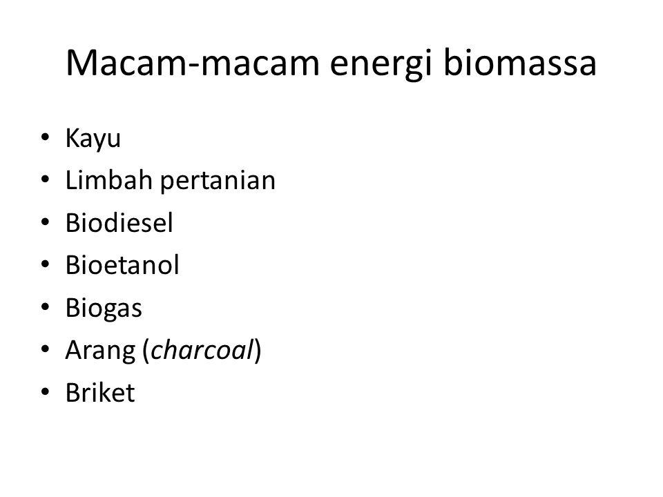 Macam-macam energi biomassa Kayu Limbah pertanian Biodiesel Bioetanol Biogas Arang (charcoal) Briket