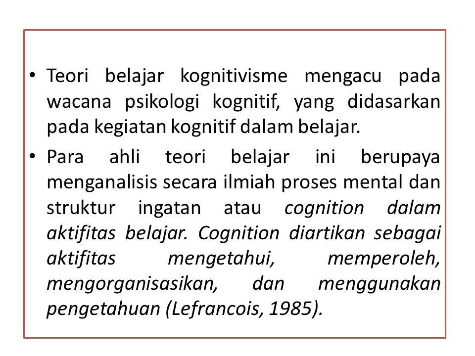 Tekanan utama psikologi kognitif adalah struktur kognitif, yaitu perbendaharaan pengetahuan pribadi individu yang mencakup ingatan jangka panjangnya (long-term memory).