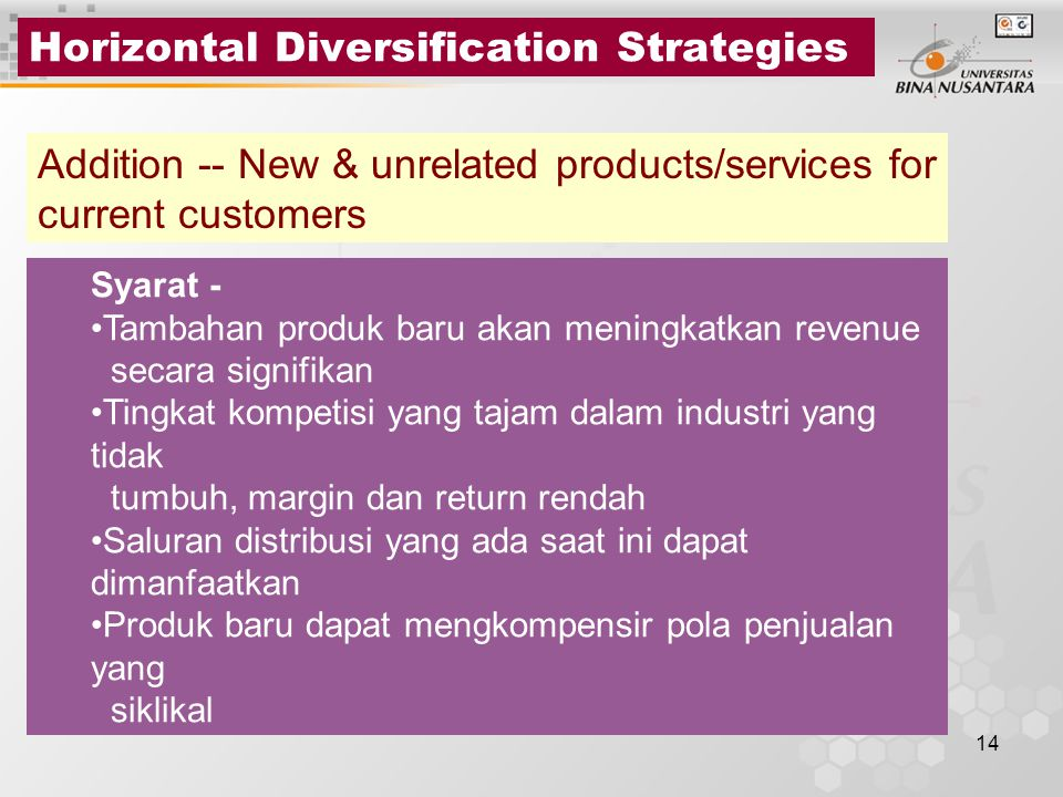 14 Horizontal Diversification Strategies Addition -- New & unrelated products/services for current customers Syarat - Tambahan produk baru akan mening