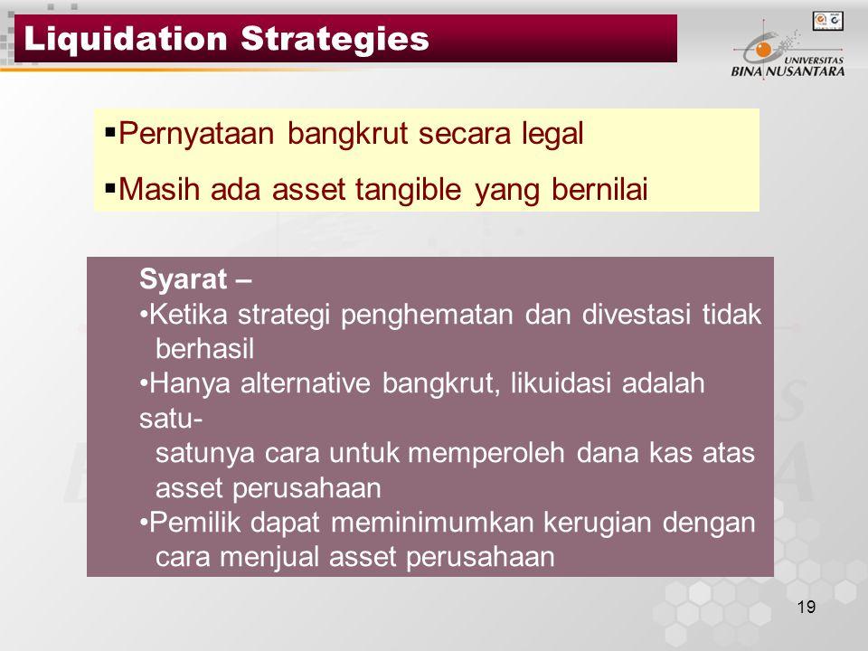 19 Liquidation Strategies  Pernyataan bangkrut secara legal  Masih ada asset tangible yang bernilai Syarat – Ketika strategi penghematan dan divesta