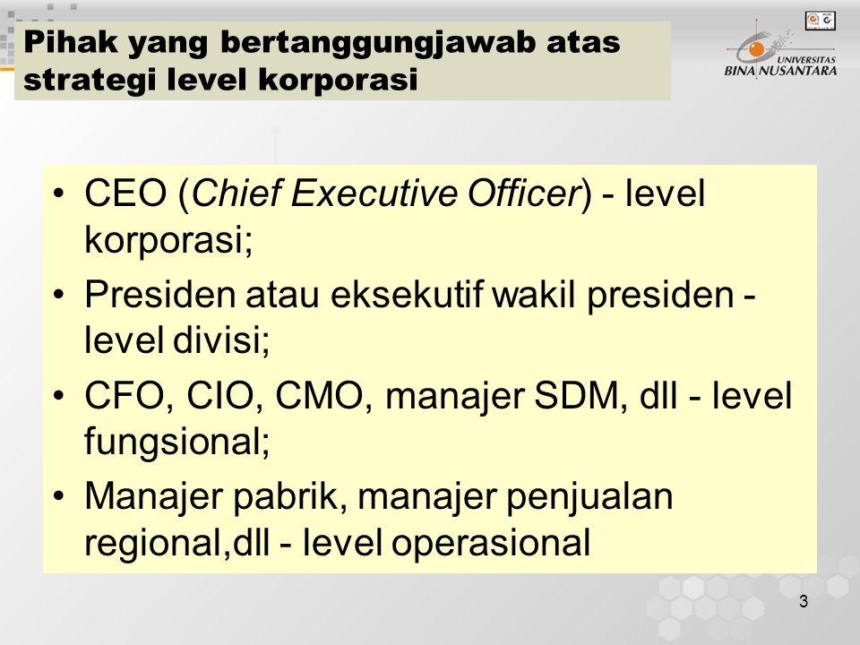 3 Pihak yang bertanggungjawab atas strategi level korporasi CEO (Chief Executive Officer) - level korporasi; Presiden atau eksekutif wakil presiden - level divisi; CFO, CIO, CMO, manajer SDM, dll - level fungsional; Manajer pabrik, manajer penjualan regional,dll - level operasional