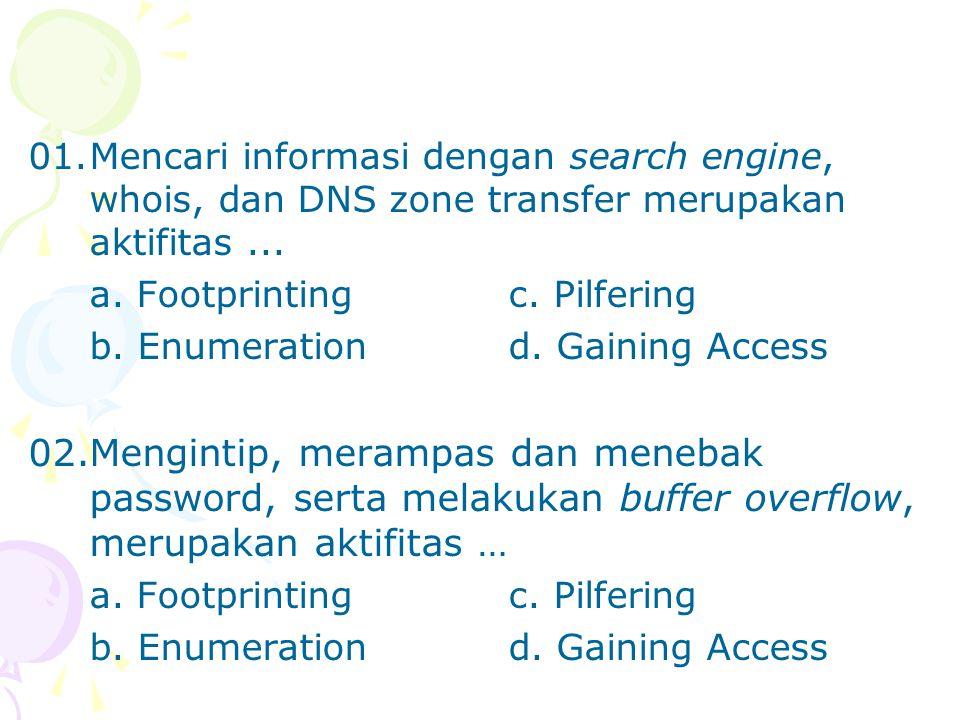 01.Mencari informasi dengan search engine, whois, dan DNS zone transfer merupakan aktifitas... a. Footprintingc. Pilfering b. Enumerationd. Gaining Ac
