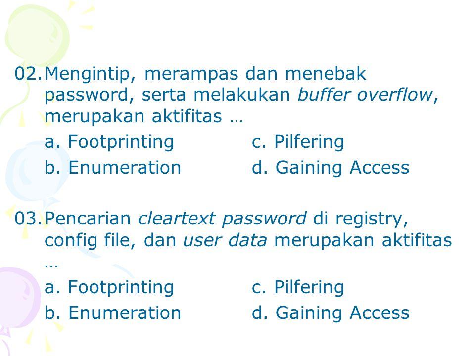 02.Mengintip, merampas dan menebak password, serta melakukan buffer overflow, merupakan aktifitas … a. Footprintingc. Pilfering b. Enumerationd. Gaini