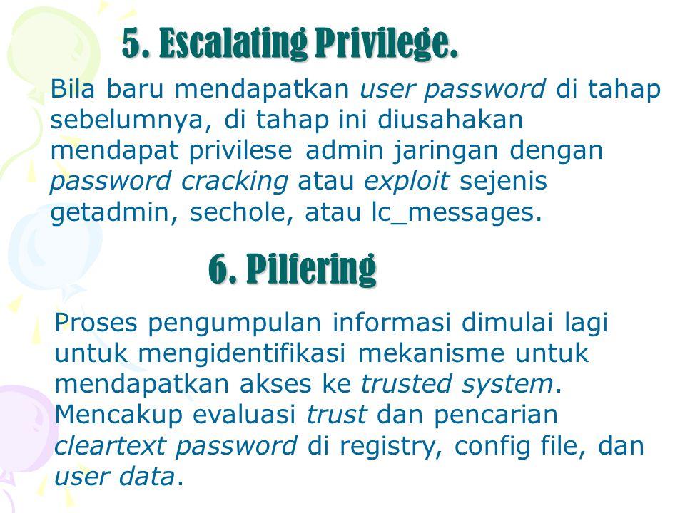 5. Escalating Privilege. Bila baru mendapatkan user password di tahap sebelumnya, di tahap ini diusahakan mendapat privilese admin jaringan dengan pas