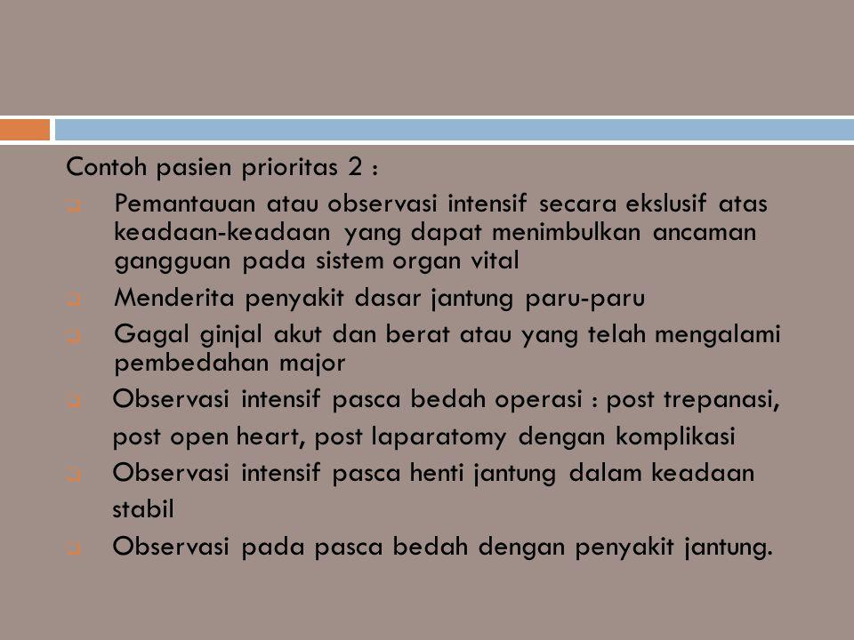 Contoh pasien prioritas 2 :  Pemantauan atau observasi intensif secara ekslusif atas keadaan-keadaan yang dapat menimbulkan ancaman gangguan pada sis