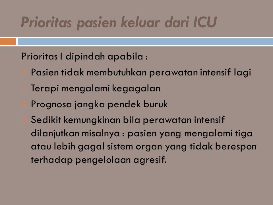 Prioritas pasien keluar dari ICU Prioritas I dipindah apabila :  Pasien tidak membutuhkan perawatan intensif lagi  Terapi mengalami kegagalan  Prog