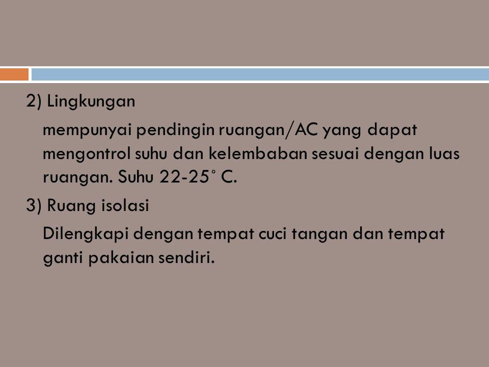 2) Lingkungan mempunyai pendingin ruangan/AC yang dapat mengontrol suhu dan kelembaban sesuai dengan luas ruangan. Suhu 22-25˚ C. 3) Ruang isolasi Dil