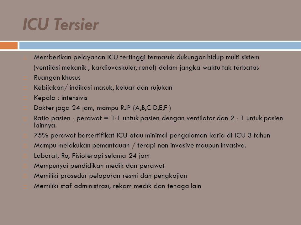 ICU Tersier  Memberikan pelayanan ICU tertinggi termasuk dukungan hidup multi sistem (ventilasi mekanik, kardiovaskuler, renal) dalam jangka waktu ta
