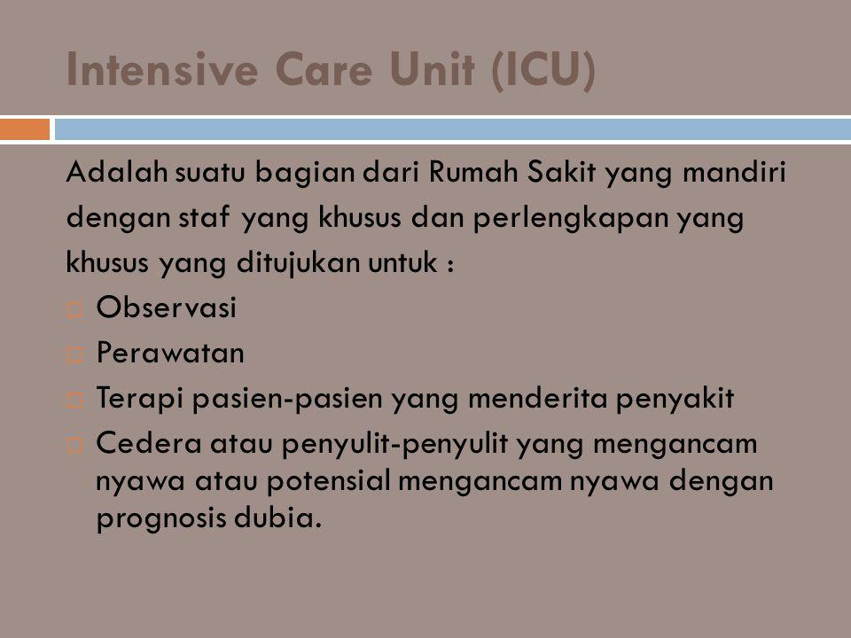 Intensive Care Unit (ICU) Adalah suatu bagian dari Rumah Sakit yang mandiri dengan staf yang khusus dan perlengkapan yang khusus yang ditujukan untuk