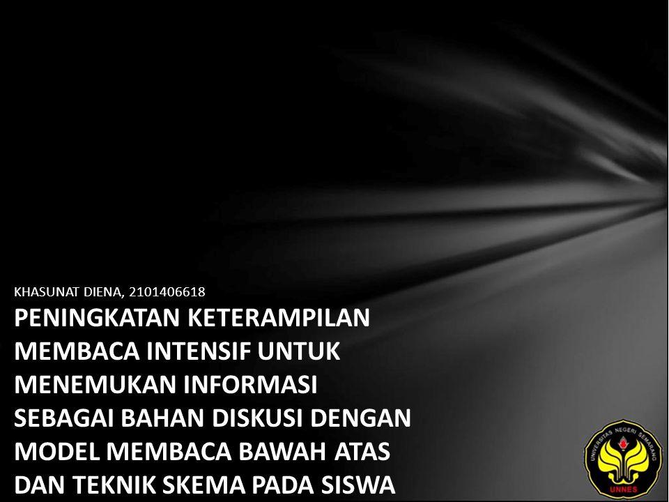 Identitas Mahasiswa - NAMA : KHASUNAT DIENA - NIM : 2101406618 - PRODI : Pendidikan Bahasa, Sastra Indonesia, dan Daerah (Pendidikan Bahasa dan Sastra Indonesia) - JURUSAN : Bahasa & Sastra Indonesia - FAKULTAS : Bahasa dan Seni - EMAIL : neza_girl_89 pada domain yahoo.co.id - PEMBIMBING 1 : Drs.Haryadi,M.Pd.