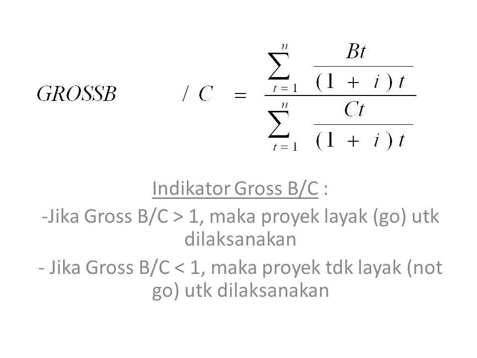 Indikator Gross B/C : -Jika Gross B/C > 1, maka proyek layak (go) utk dilaksanakan - Jika Gross B/C < 1, maka proyek tdk layak (not go) utk dilaksanakan