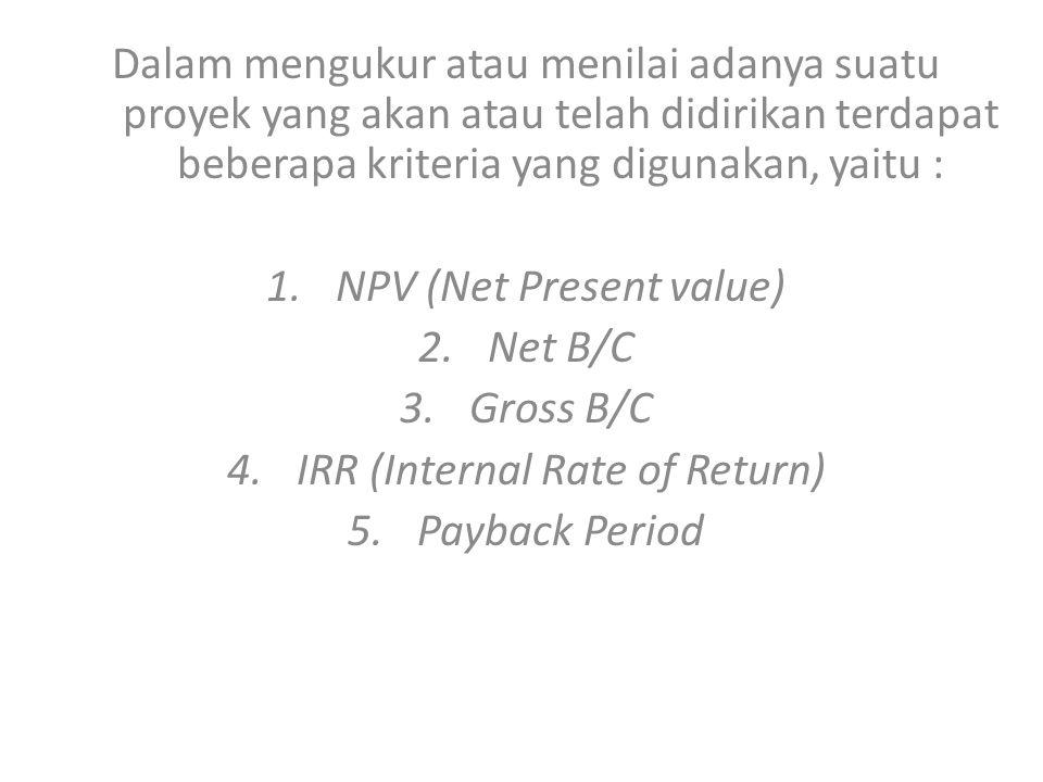 Analisis Kriteria Investasi Dari Tabel 5, PBP dapat dihitung sbb: PBP = 5 tahun 5 bulan 15 hari.