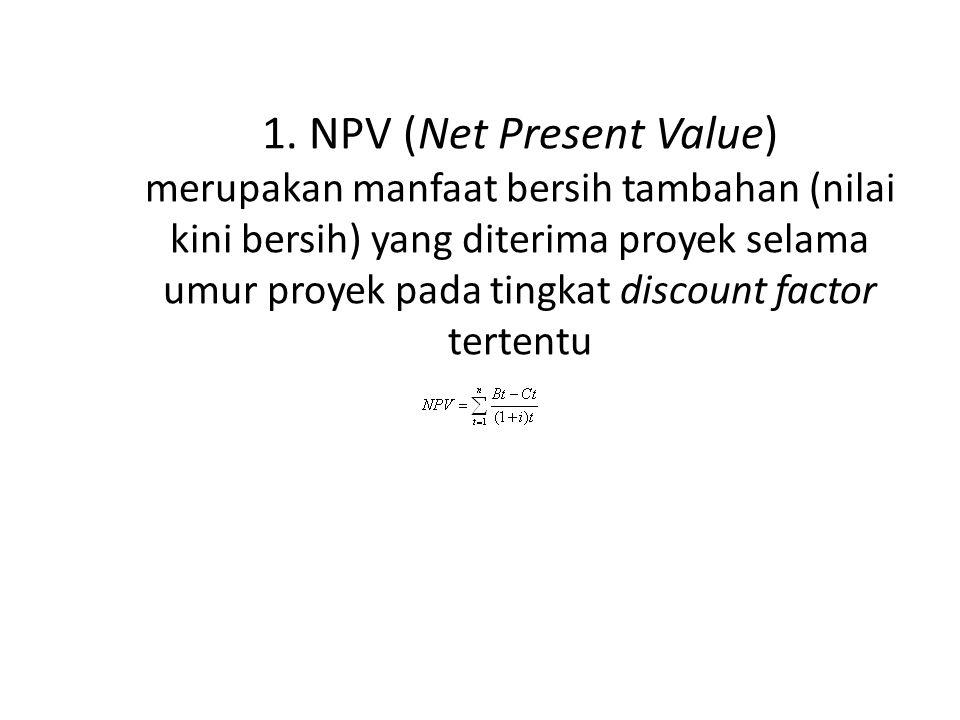 Analisis Kriteria Investasi Hasil perhitungan menunjukkan bahwa Net B/C > 1, berarti proyek tersebut layak untuk dikerjakan.